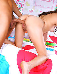 Brunette teen gets help with her homework and a sticky creampie bonus