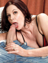Mature brunette woman Magdalene St Michaels riding large dick after giving BJ