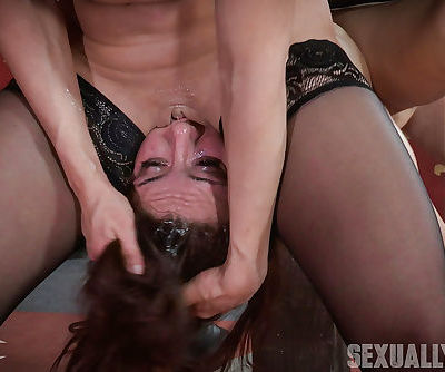 Bound slave Mandy Muse gets fingered and gagged with strapon in rough BDSM