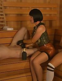 Skilled mistress Lady Frost helps horny couple reach orgasms in sauna