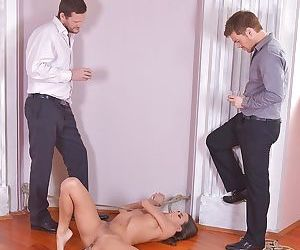 BDSM threesome with sexy-looking young tanned chick Mea Melone