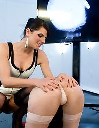 Restrained female has her asshole filled with an electric butt plug