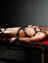 British woman Lady Sarah is fastened into bondage rack for torture session