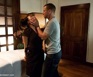 Asian masseuse Asa Akira got caught for dirty tricks- bound- and fucked hard
