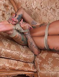 Bonnie Rotten is tied up while receiving a hardcore anal pounding