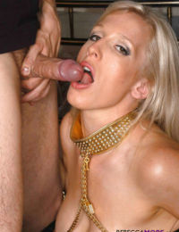 Big breasted MILF baber Rebecca more teased her young lover in leather black lingerie and boots and then blew his large meat pole.