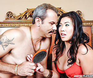 Asian pornstar London Keyes riding cock for cumshot on face