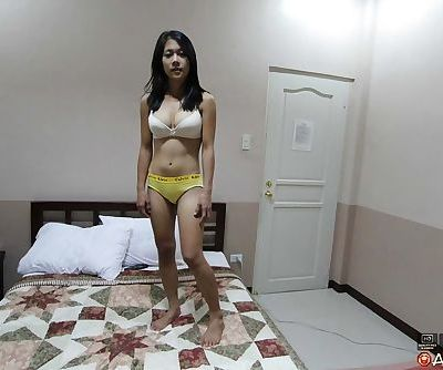 Filipina female bares her big tits before POV sex with a Farang