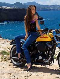 Hot brunette Lorena B strips jeans to flaunt round ass & hairy twat at beach