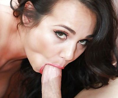 Holly West couldnt wait to try to swallow that gigantic white cock