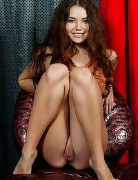 Horny brunette Norma A pulls off her panties for a closeup twat shot