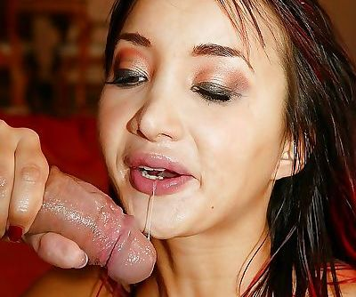 Nasty brunette asian bitch Katsuni giving a sloppy blowjob