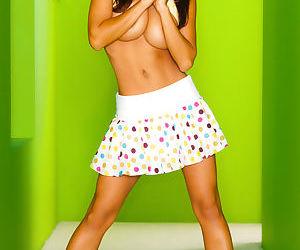 Teen Asian Hiromi Oshima flashing nude upskirt & flaunting her big tits