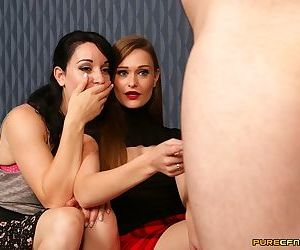 Two fully clothed sluts touch & tongue coworkers cock in CFNM scene