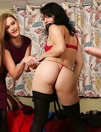 Cum hungry Honour May and her friend share a swollen penis in CFMN 3some