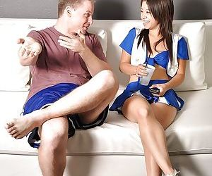 Asian cheerleader Asia Zo gets seduced and fucks by her naughty coach
