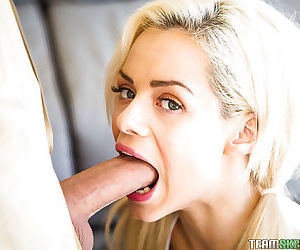 Blonde cheerleader Elsa Dream using tongue to lick balls and big cock