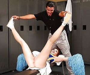 Hot cheerleader Ashlyn Rae gets her shaved pussy stuffed by a big hard cock