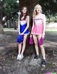 Cheerleaders Alexa Grace & Molly Manson score points by fucking the coach