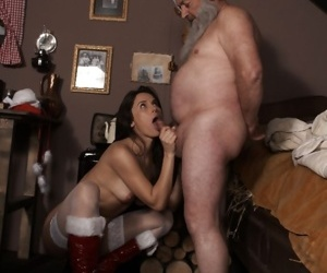 Young girl in red Santa boots gives her sugar daddy sex for Christmas