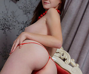 Sweet young Emily Bloom gets watermelon juice on her cute face & shaved pussy