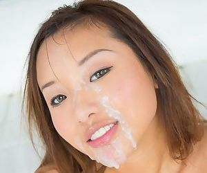 Slippy asian hottie blows and fucks a thick boner for cum on her face