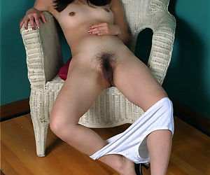 Asian first timer Ivy removing white panties to expose hairy vagina