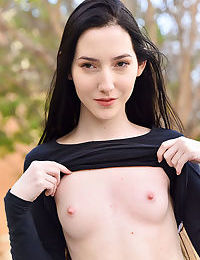 Skinny young Maia flashes tiny tits outdoors & spreads her pussy lips & ass