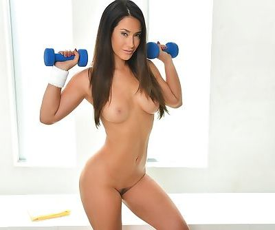Beautiful Asian model Eva Lovia finishes off her workout in the nude