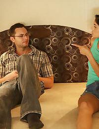Lesbo girls Katya Rodriguez & Angel Smalls seduce step dad for threesome