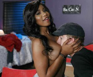 Ebony coed Jenna J Foxx unveils big natural teen tits for hardcore sex