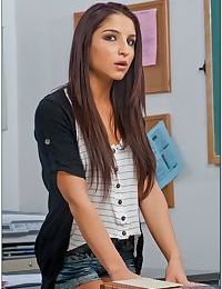 Stunning latina teen babe Giselle Leon stripping off all of her clothes