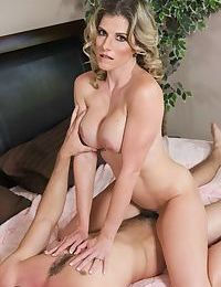 Horny cougar Cory Chase hikes up her dress to seduce a young boy