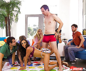 Latina cougar Ariella Ferrera gets frisky with young men while playing Twister