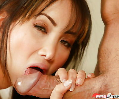 Oriental MILF sucks dick and rides cowgirl with cock in Asian asshole