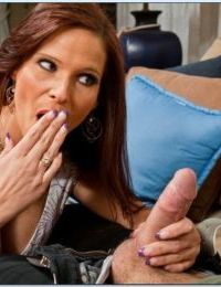 Mature lady Syren De Mer jumps on a huge cock when she sees it