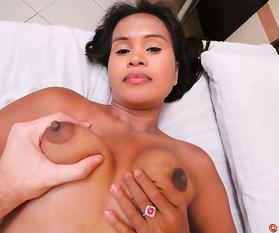 Asian woman gives up her trimmed bush to visiting sex tourist