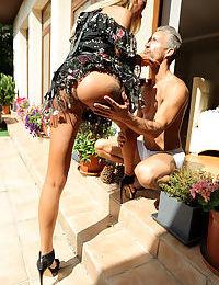 Skinny hot slut Katrin Tequila licks cock & receives a hot pussy creampie