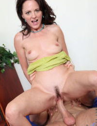 Mature brunette Danielle Reage and her boy toy get down to a hard fuck