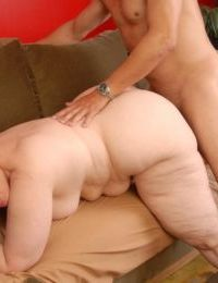 Blonde granny Anne jacking cock after fucking for cumshot in mouth