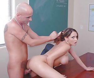 Brunette slut with big tits Kinzie fucked deep in her pussy