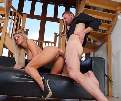 Hot blonde Sienna Day is relieved of her short dress while getting fucked