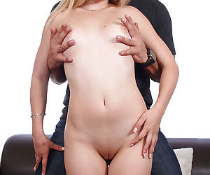 Young blonde chick Audrey Gold taking a rough cock banging