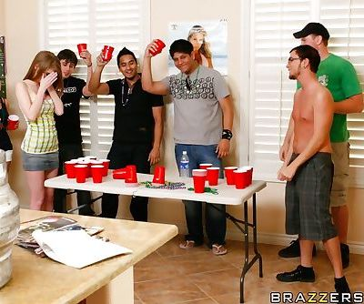 Playful babe Faye Reagan strips to get hardcore fucked at the party