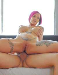 Big boobed babe model Anna Bell Peaks taking cumshot on shaved pussy