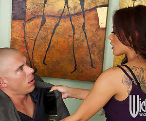 Asian hottie in stockings Kaylani Lei gives a blowjob and gets shagged