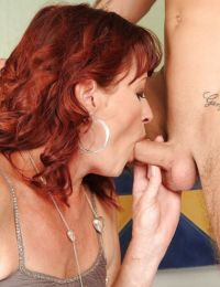 Redhead mature babe gives a blowjob and gets her bush drilled hardcore