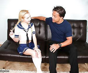 Young blonde hottie in schoolgirl uniform sucking big old man dick