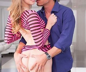 Hot blonde teen Jillian Janson is evermore ready to less the brush guy a blowjob