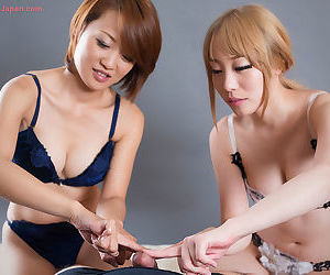 2 Japanese females in bra and panty combos make tracks elsewhere a cock gather up